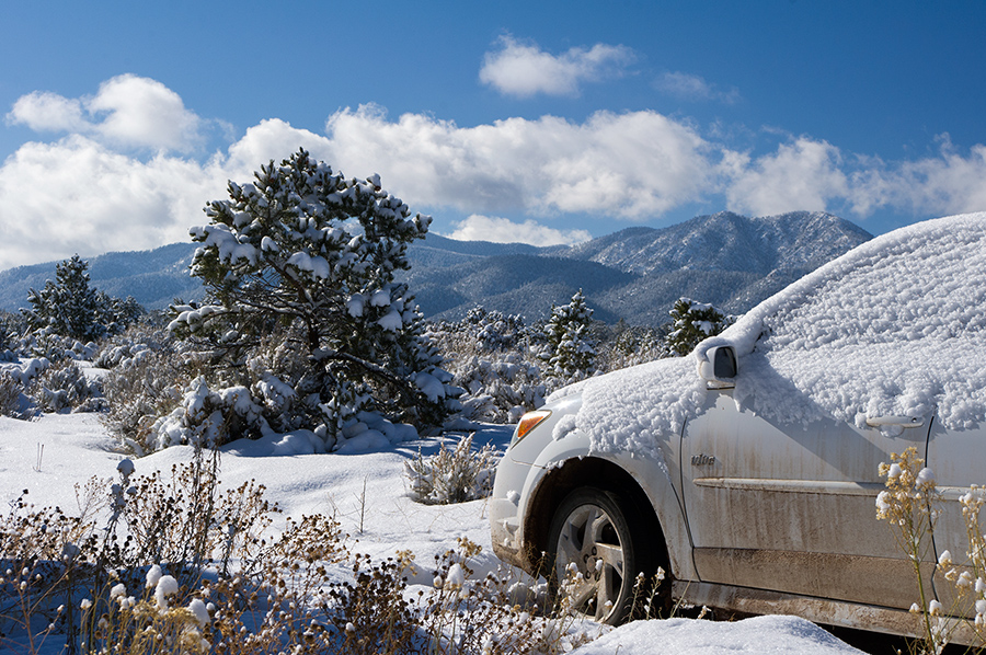 car and snow, New Mexico.