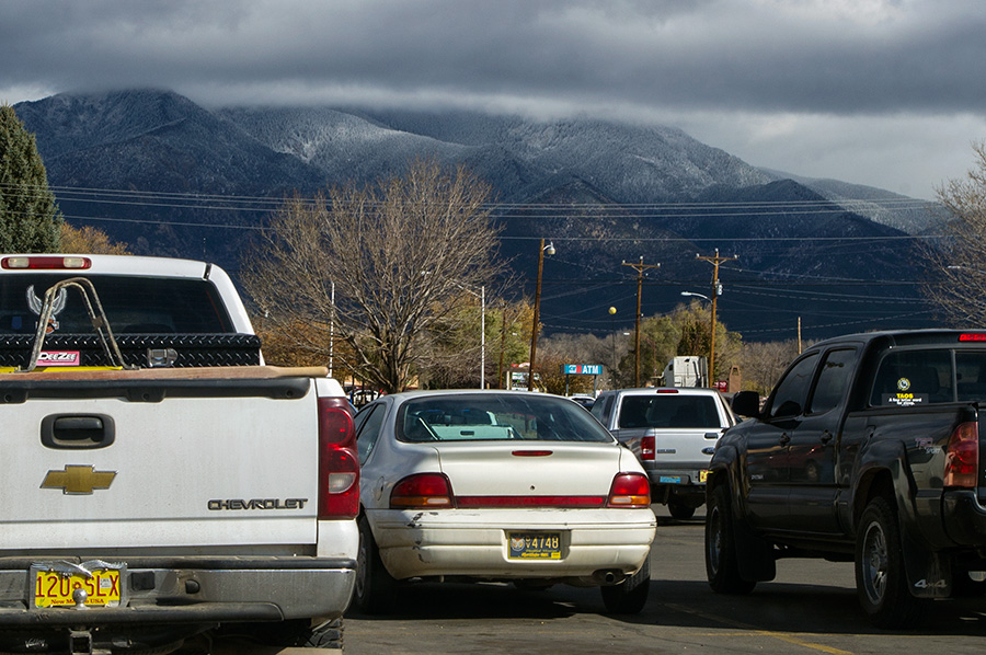 Taos Mountain from a supermarket parking lot