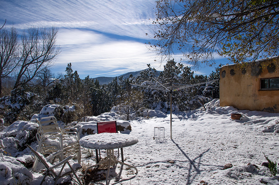 snowy backyard in Taos, New Mexico