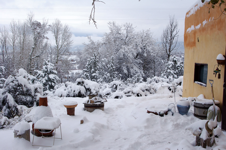 snowy yard in Taos, New Mexico