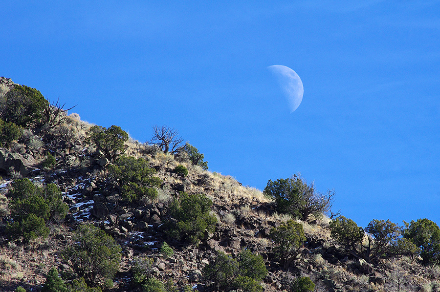 moon over the canyon near PIlar