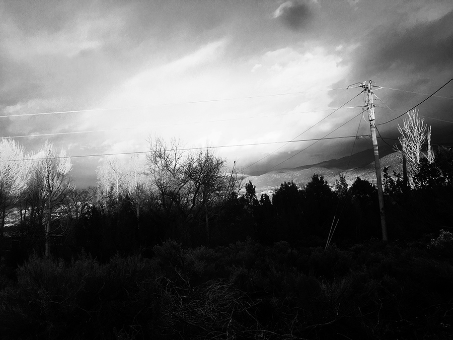 black and white sunset view