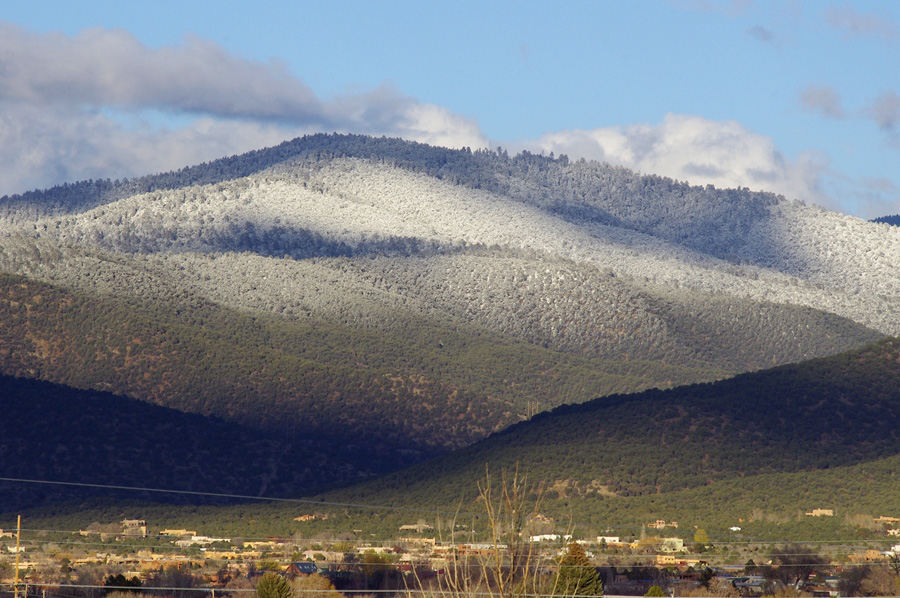 snowline on Talpa hills near Taos, NM