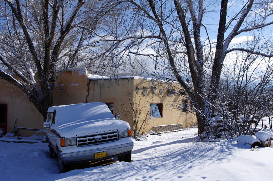an old Taos adobe in the snow