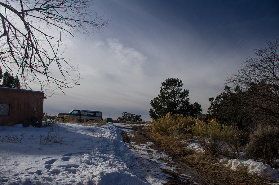 snowing Taos winter scene