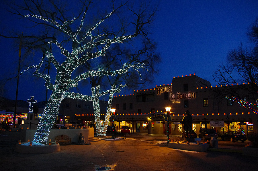 Taos Plaza at Xmas