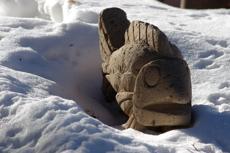 carved stone fish from Mexico