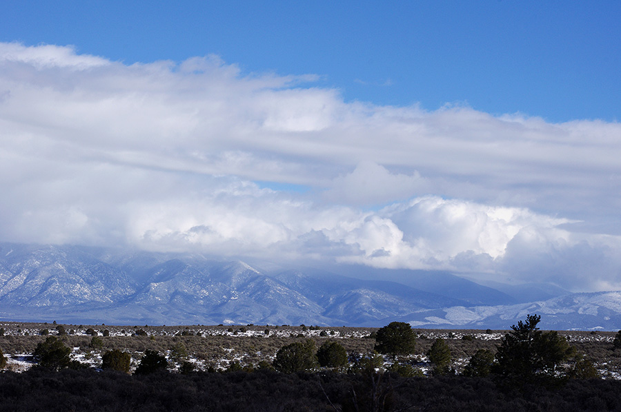 snowy shot of Taos Mountain