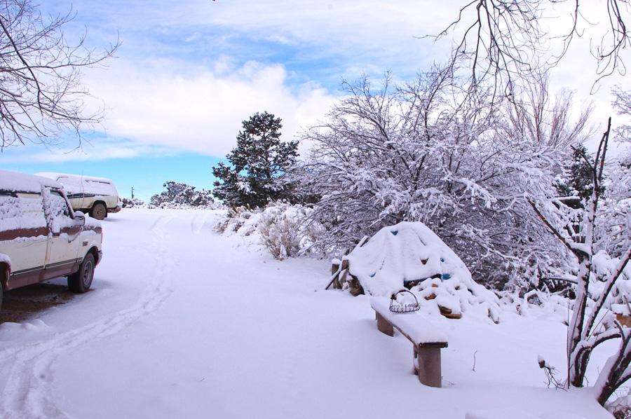snowy Taos driveway