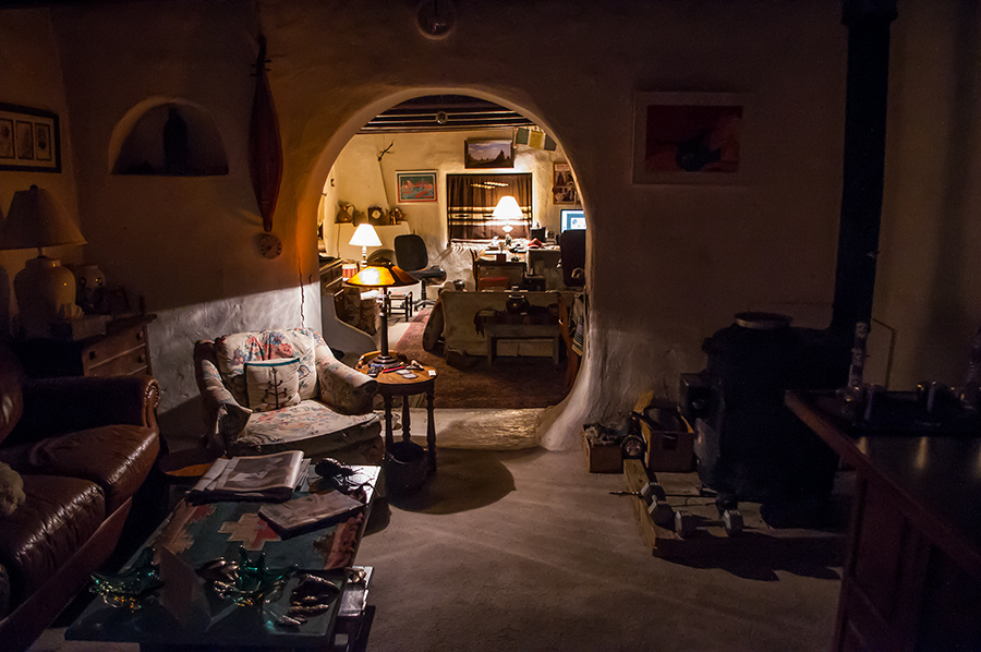 interior of old adobe in Taos, NM