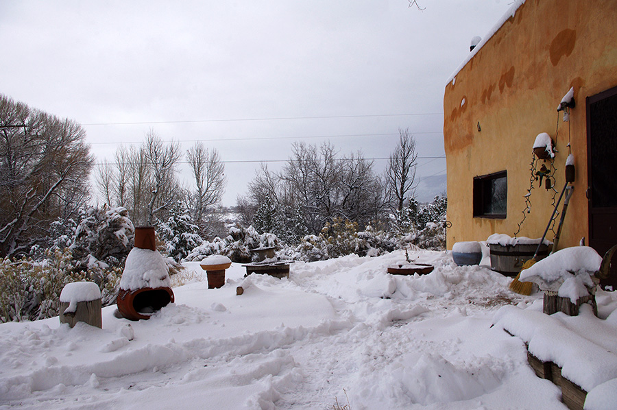 old Taos adobe in the snow