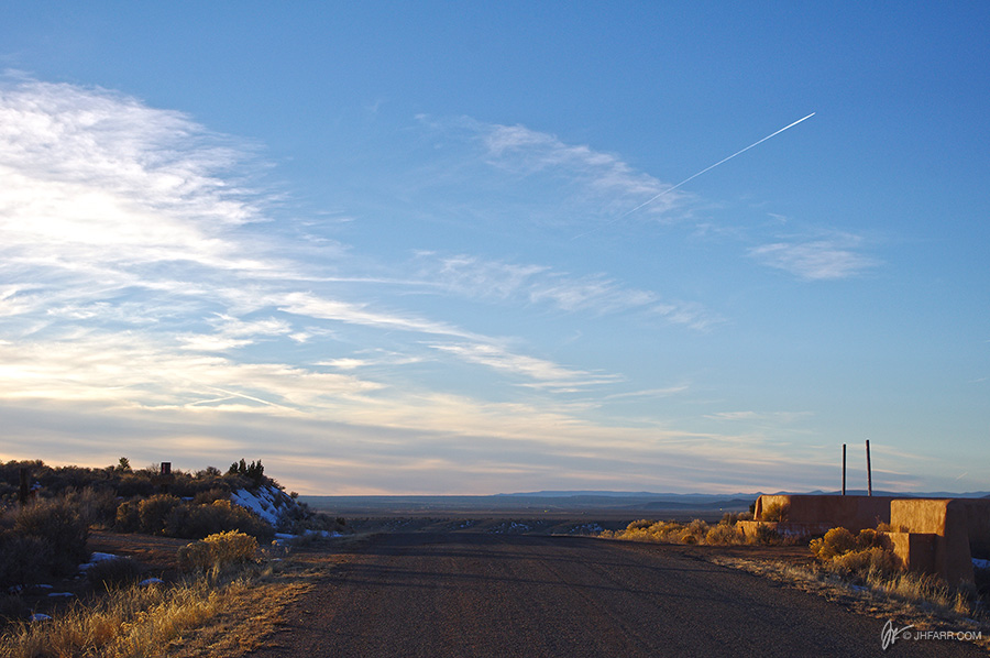 hilltop road near Taos, New Mexico