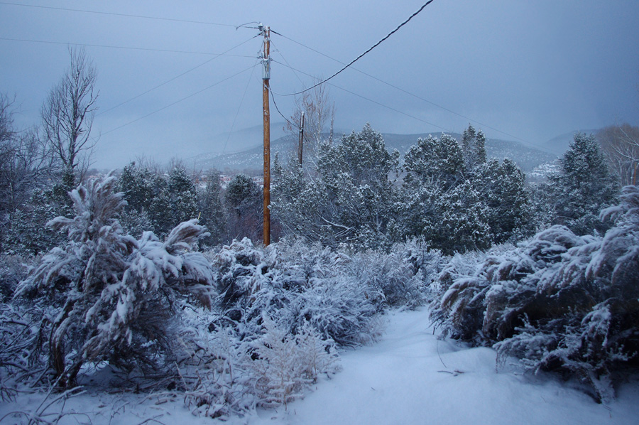 winter twilight after a snow in Taos