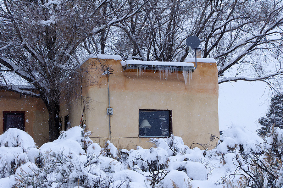 snowy adobe in Taos, New Mexico