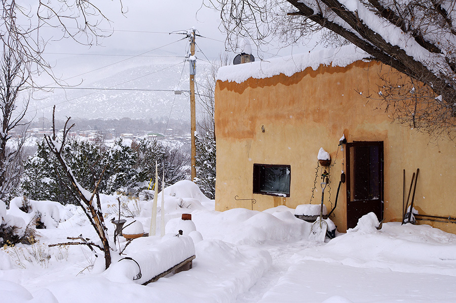 snowy adobe near Taos, NM