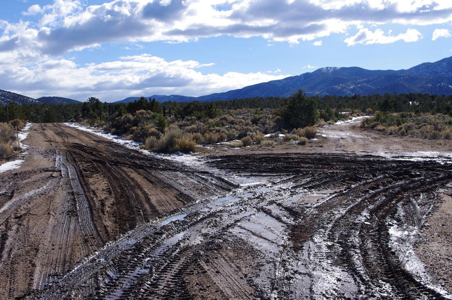 muddy Taos road