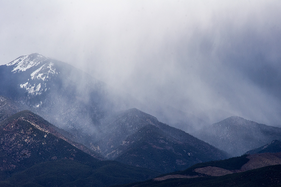 snow shower on Taos Mountain
