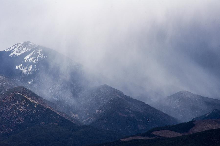 snow shower on Taos Mountain