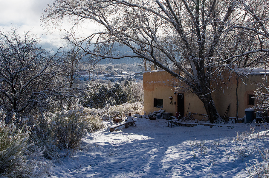 snowy Taos scene