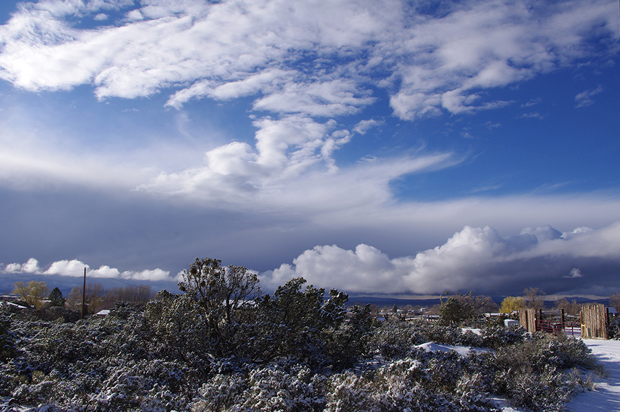 winter-like sky on April 3rd in Taos, NM