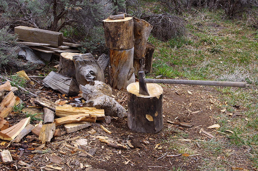 wood pile scene in Taos, New Mexico