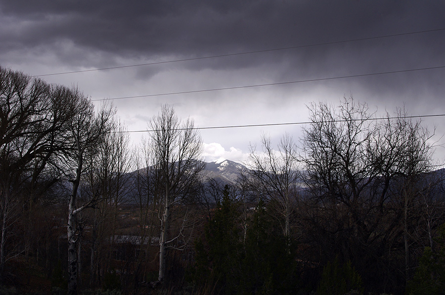 Rainy view of Taos Mountain