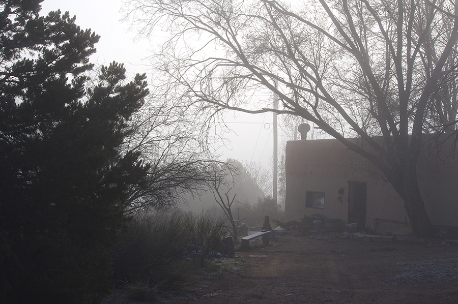 Taos house in fog