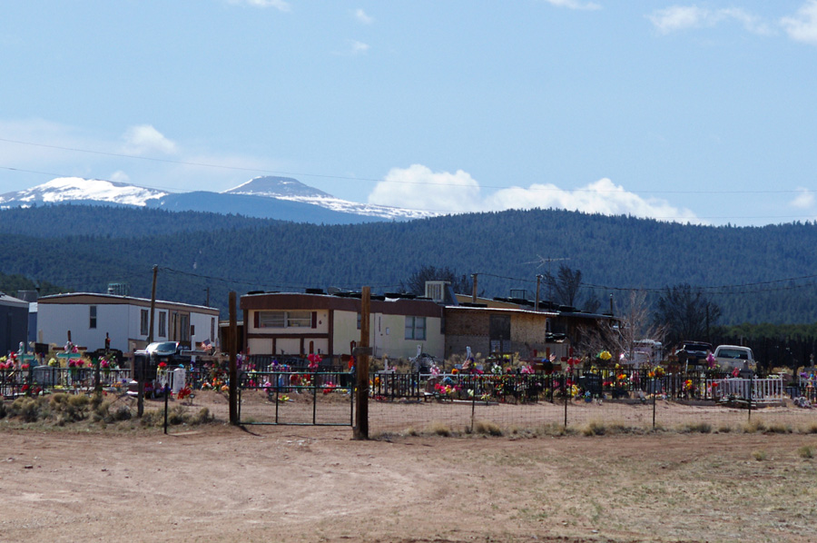 graveyard, trailers, mountains, Taos