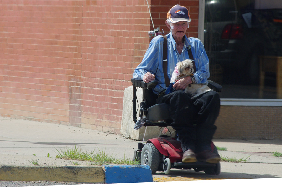 cool old guy in electric wheelchair