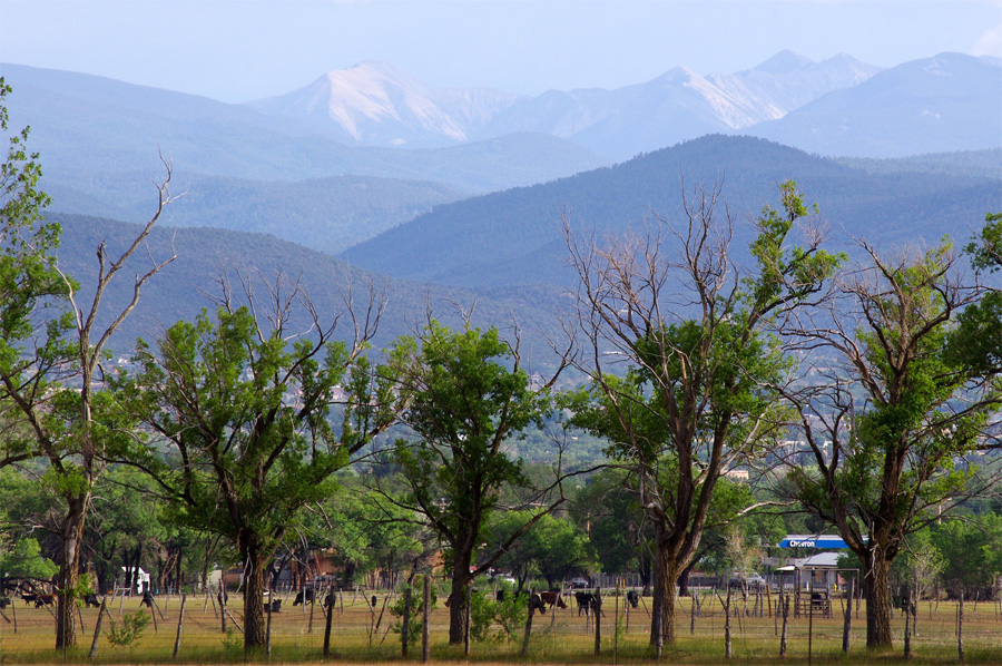 Truchas Peaks as seen from Taos Pueblo pow-wow grounds