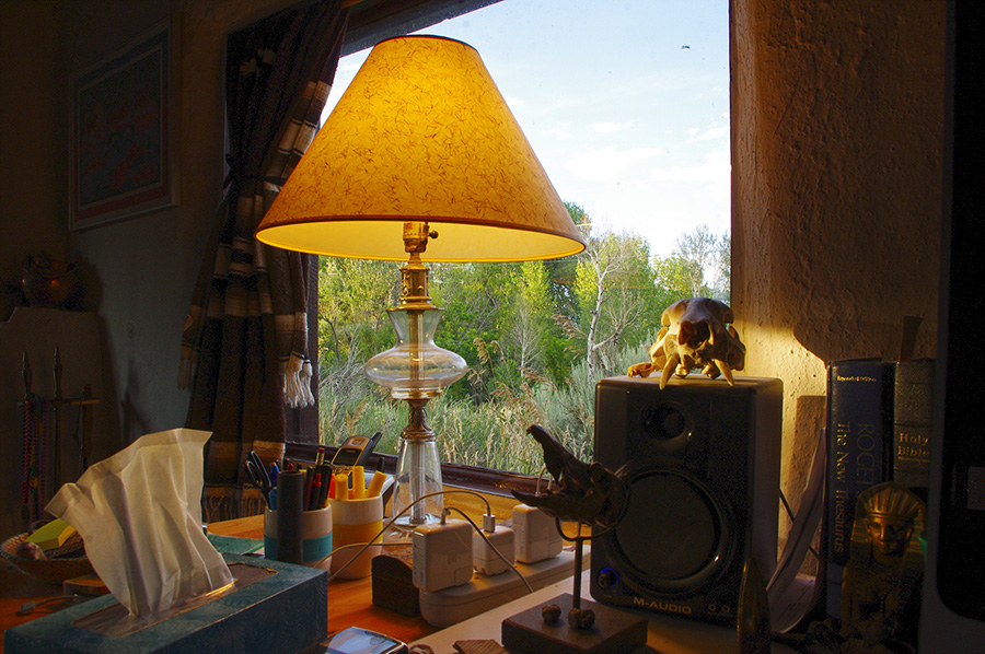 lamp on table in Taos, NM