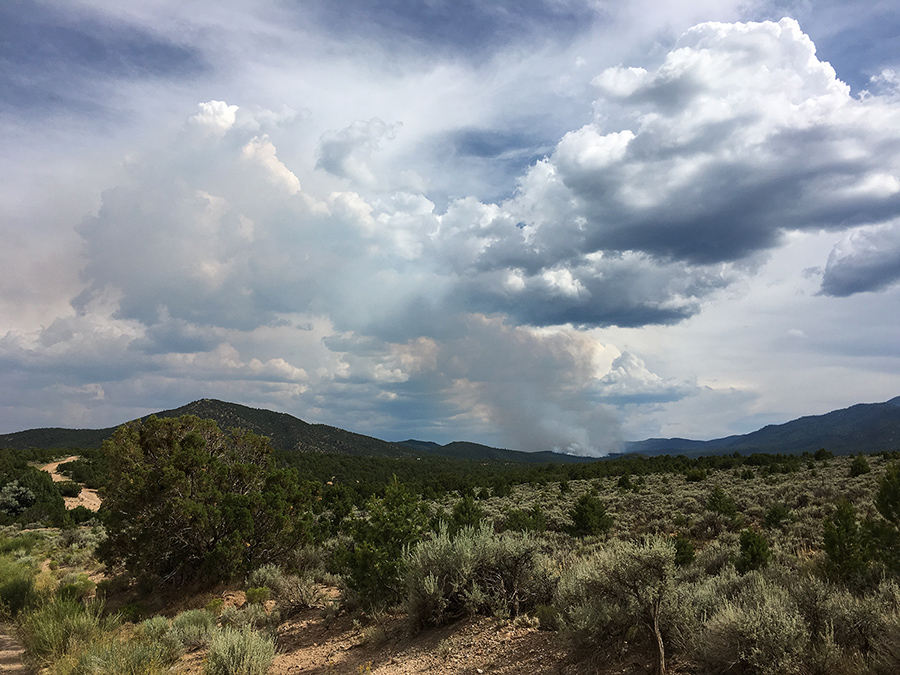 distant fire south of Taos