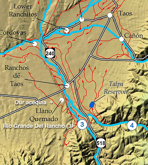 acequia map for Taos County