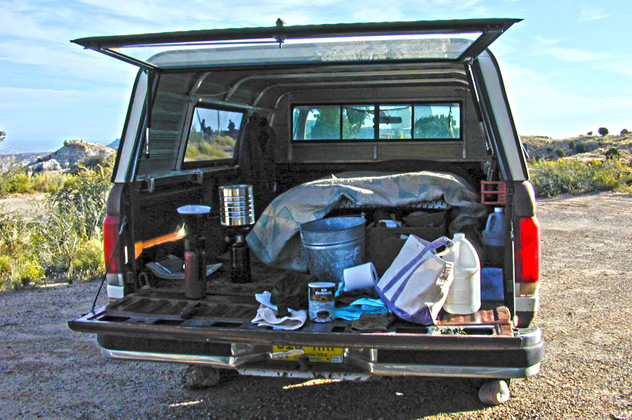 truck with camping gear
