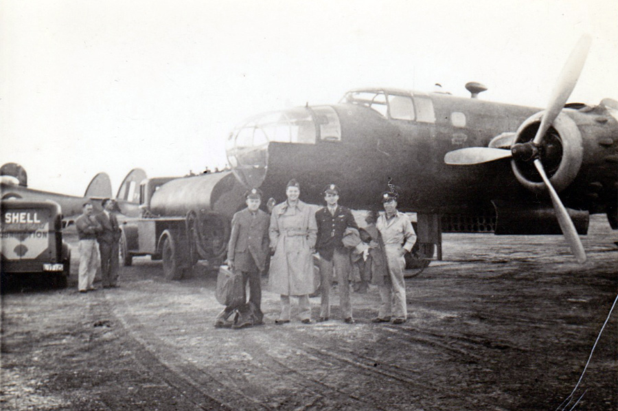 U.S. Army officers with B-25 during WWII