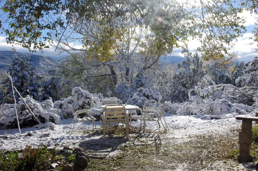 Taos backyard with slushy snow