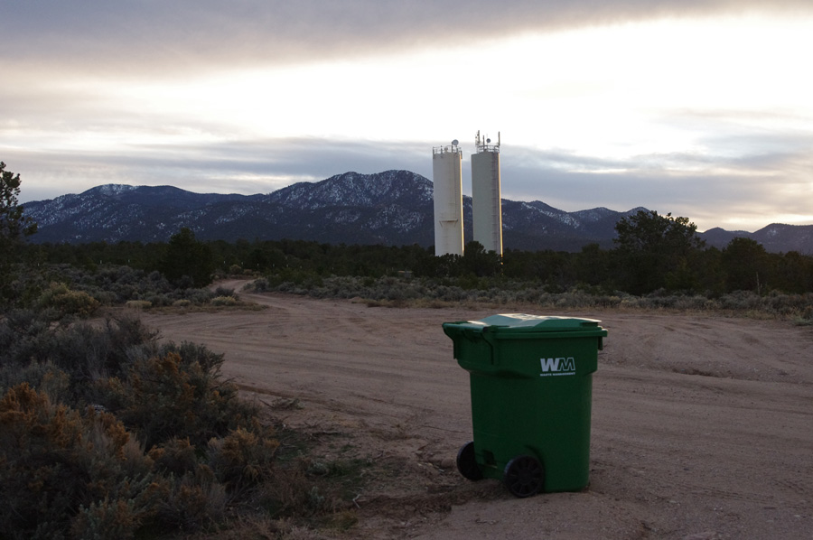garbage can and water towers outside of Taos, NM
