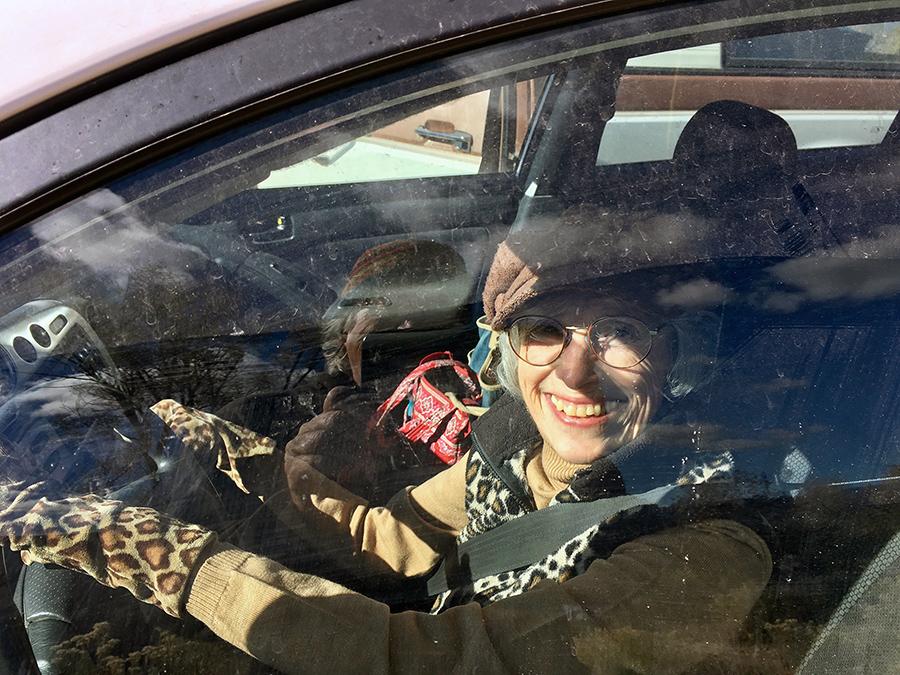 Kathy at the wheel