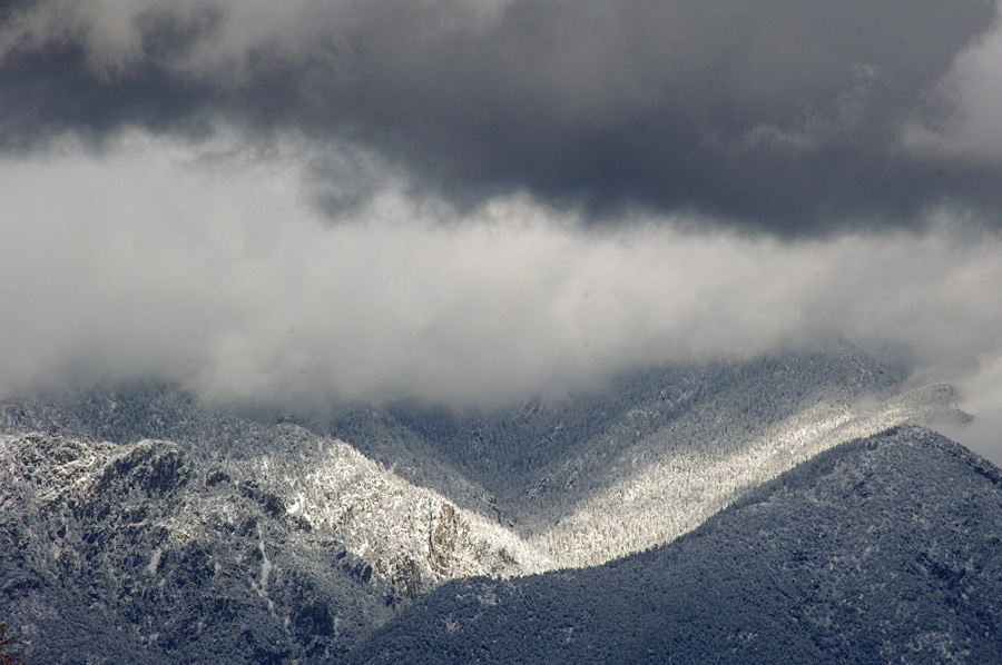 Taos Mountain in the snow and clouds