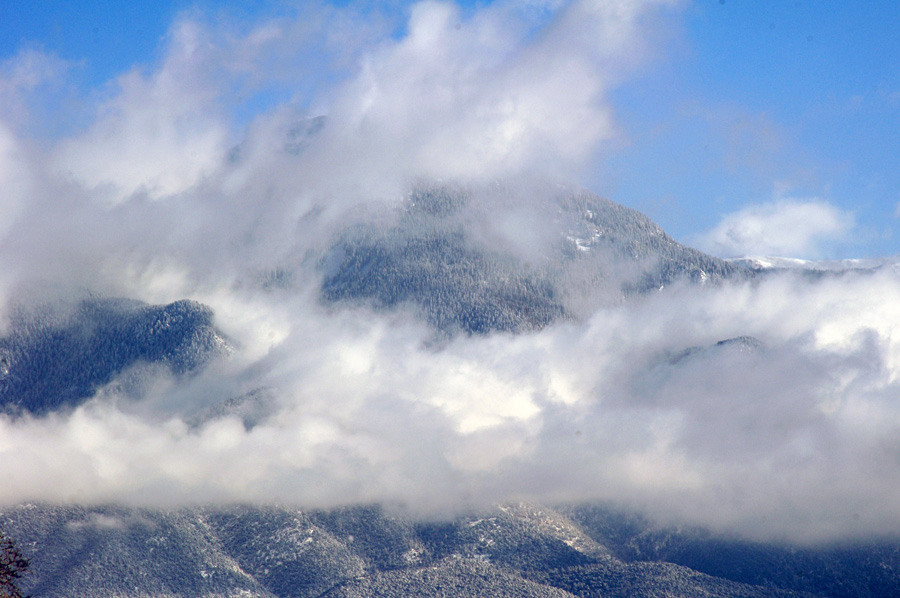 Taos Mountain in the clouds