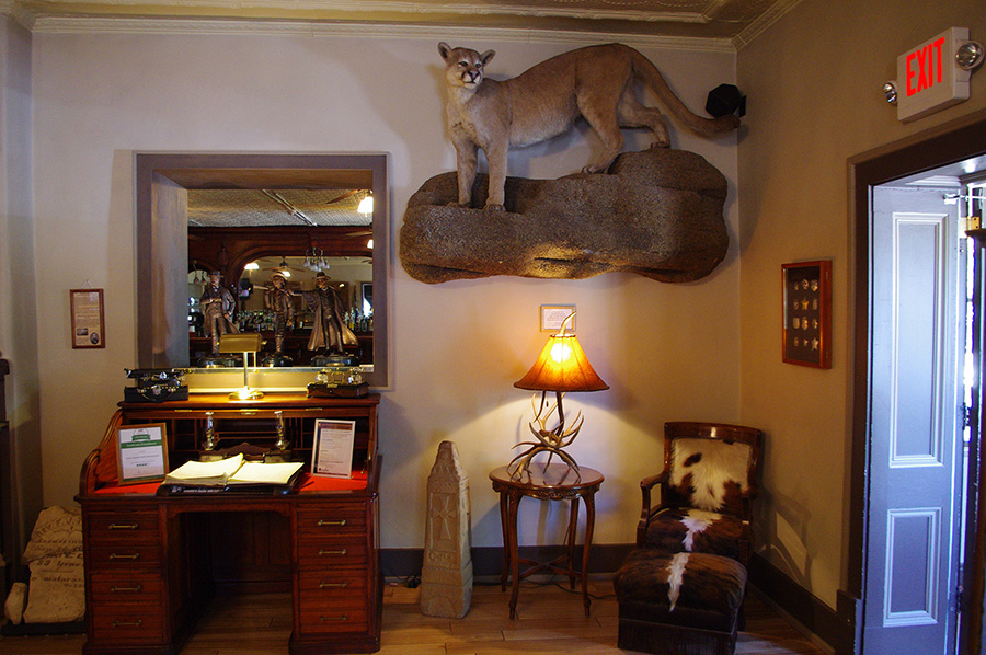 lobby of the St. James Hotel in Cimarron, NM