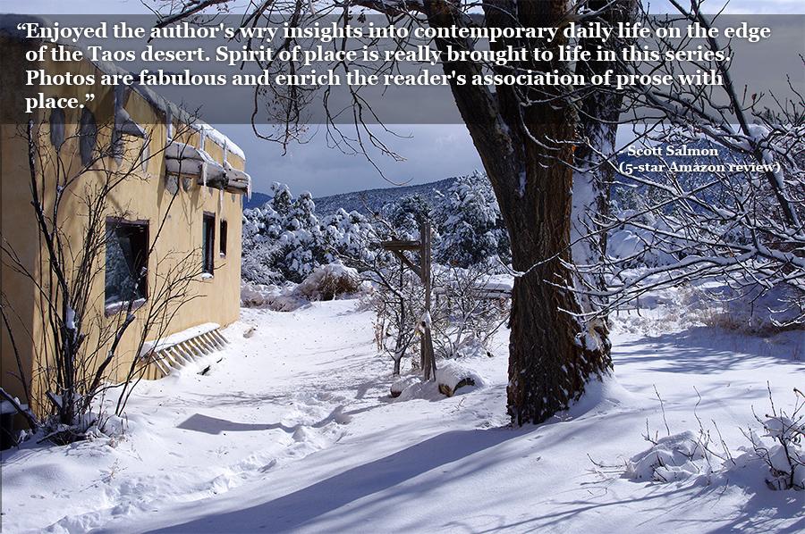 old adobe on a snowy hillside in Taos, NM